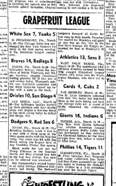 March 14, 1954 game summaries